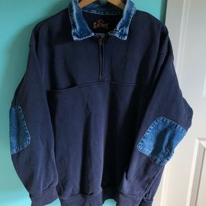 VTG 80s Denim Collar Blue Pullover Sweatshirt